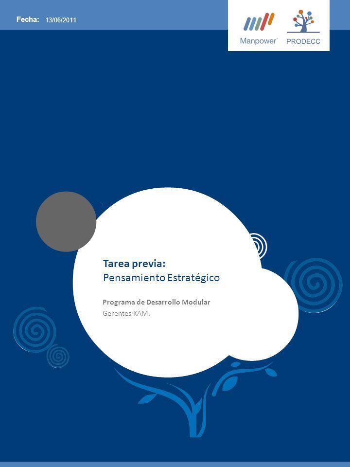 Fecha: 13/06/2011 Tarea previa: Pensamiento Estratégico Programa de Desarrollo Modular Gerentes KAM.