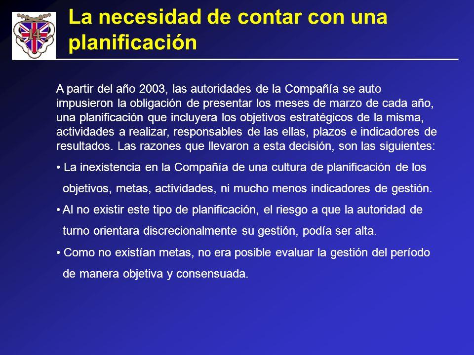 A partir del año 2003, las autoridades de la Compañía se auto impusieron la obligación de presentar los meses de marzo de cada año, una planificación