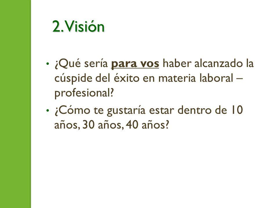 2. Visión ¿Qué sería para vos haber alcanzado la cúspide del éxito en materia laboral – profesional? ¿Cómo te gustaría estar dentro de 10 años, 30 año