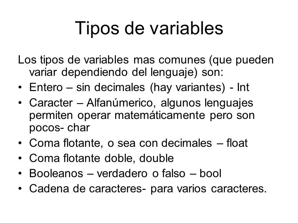 Tipos de variables Los tipos de variables mas comunes (que pueden variar dependiendo del lenguaje) son: Entero – sin decimales (hay variantes) - Int C