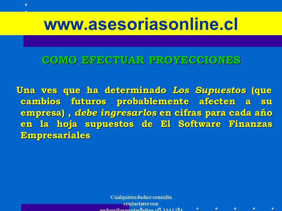 Cualquiera duda o consulta contactarse con andrea@asesoriasonline.cl - 3341244 www.asesoriasonline.cl COMO EFECTUAR PROYECCIONES Una ves que ha determ