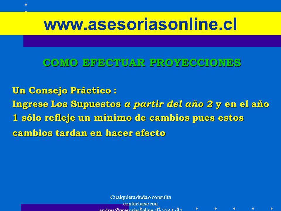 Cualquiera duda o consulta contactarse con andrea@asesoriasonline.cl - 3341244 www.asesoriasonline.cl COMO EFECTUAR PROYECCIONES Un Consejo Práctico :