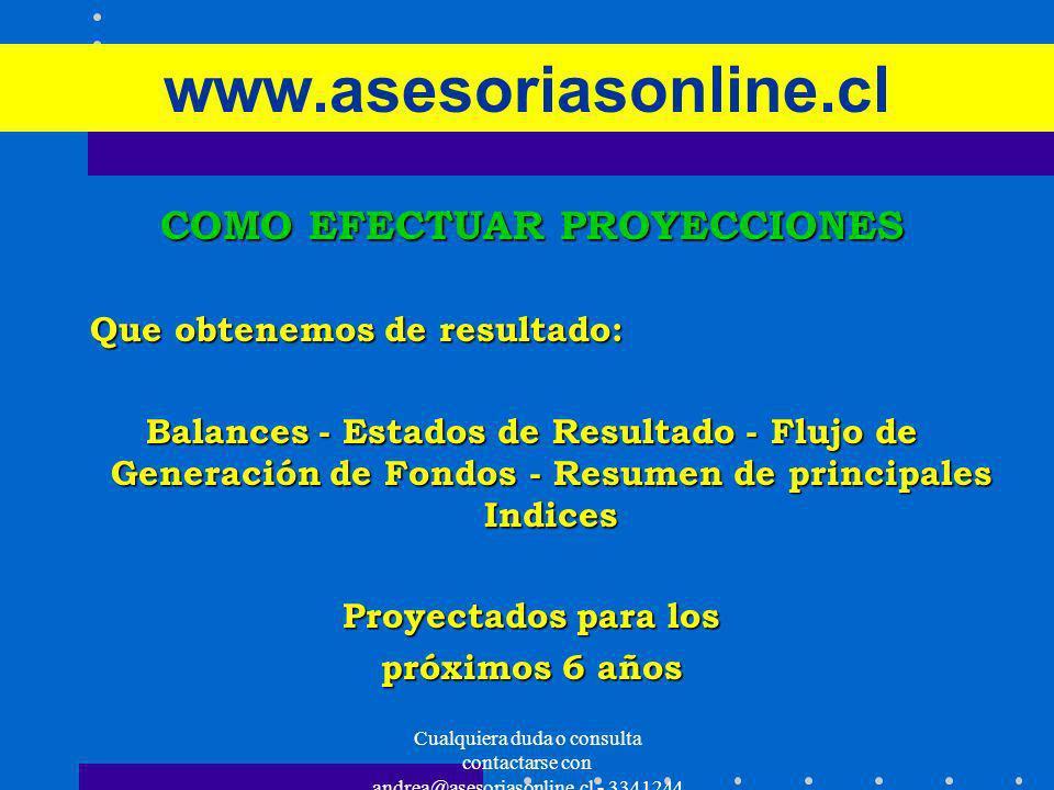 Cualquiera duda o consulta contactarse con andrea@asesoriasonline.cl - 3341244 www.asesoriasonline.cl COMO EFECTUAR PROYECCIONES Que obtenemos de resu