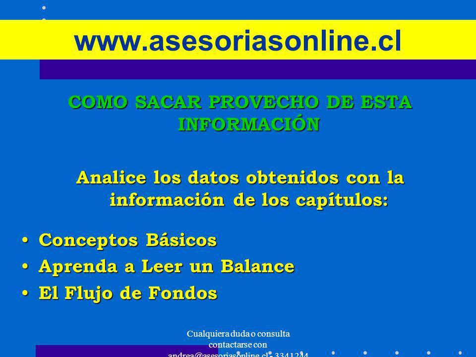Cualquiera duda o consulta contactarse con andrea@asesoriasonline.cl - 3341244 www.asesoriasonline.cl COMO SACAR PROVECHO DE ESTA INFORMACIÓN Analice