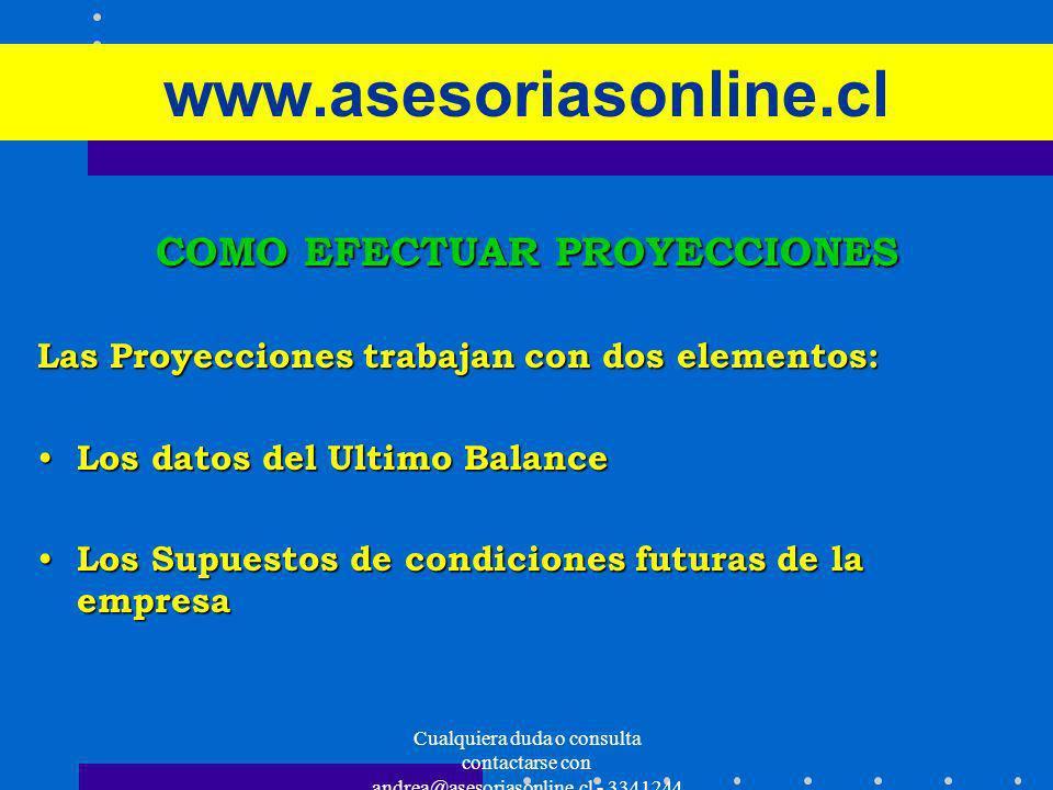 Cualquiera duda o consulta contactarse con andrea@asesoriasonline.cl - 3341244 www.asesoriasonline.cl COMO EFECTUAR PROYECCIONES Las Proyecciones trab