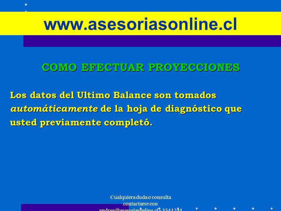 Cualquiera duda o consulta contactarse con andrea@asesoriasonline.cl - 3341244 www.asesoriasonline.cl COMO EFECTUAR PROYECCIONES Los datos del Ultimo