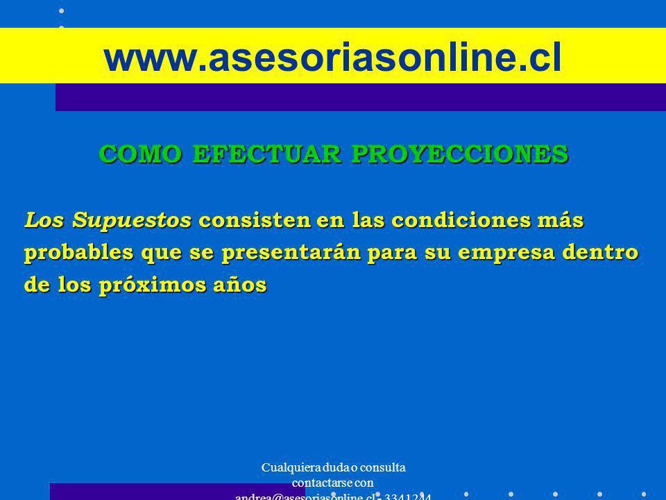 Cualquiera duda o consulta contactarse con andrea@asesoriasonline.cl - 3341244 www.asesoriasonline.cl COMO EFECTUAR PROYECCIONES Los Supuestos consist