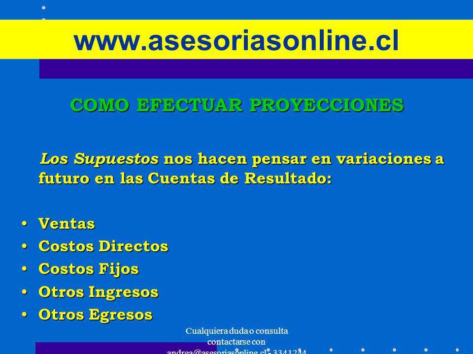 Cualquiera duda o consulta contactarse con andrea@asesoriasonline.cl - 3341244 www.asesoriasonline.cl COMO EFECTUAR PROYECCIONES Los Supuestos nos hac