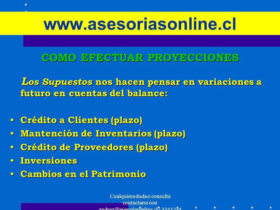 Cualquiera duda o consulta contactarse con andrea@asesoriasonline.cl - 3341244 www.asesoriasonline.cl COMO EFECTUAR PROYECCIONES L os Supuestos nos ha