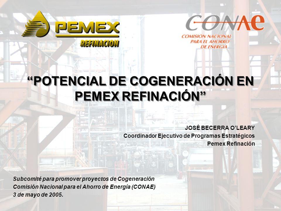 POTENCIAL DE COGENERACIÓN EN PEMEX REFINACIÓN JOSÉ BECERRA OLEARY Coordinador Ejecutivo de Programas Estratégicos Pemex Refinación Subcomité para prom