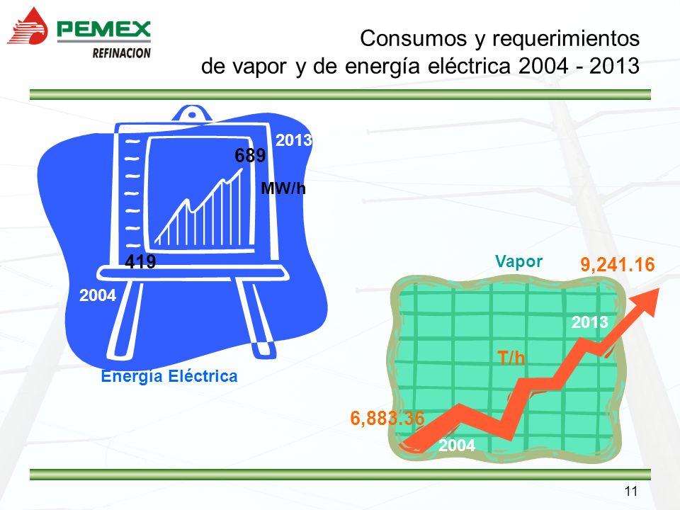 11 Consumos y requerimientos de vapor y de energía eléctrica 2004 - 2013 Energía Eléctrica 2013 2004 419 689 MW/h Vapor 2004 2013 6,883.36 9,241.16 T/