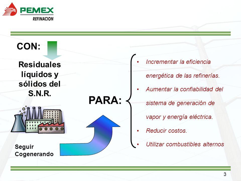 3 CON: Incrementar la eficiencia energética de las refinerías. Aumentar la confiabilidad del sistema de generación de vapor y energía eléctrica. Reduc
