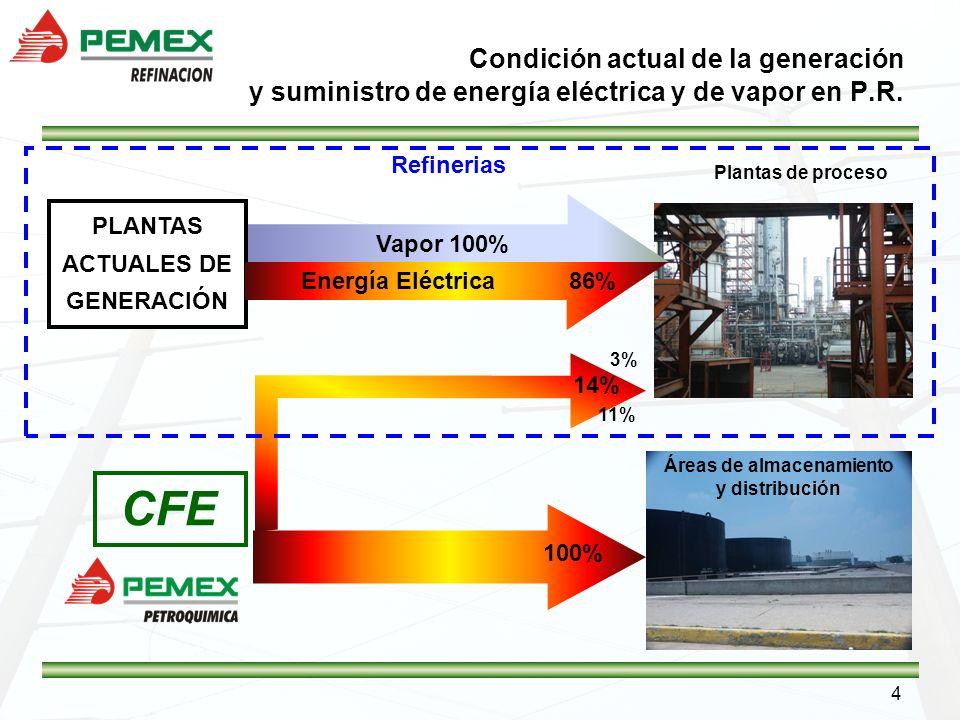 4 Condición actual de la generación y suministro de energía eléctrica y de vapor en P.R. Plantas de proceso CFE Vapor 100% PLANTAS ACTUALES DE GENERAC