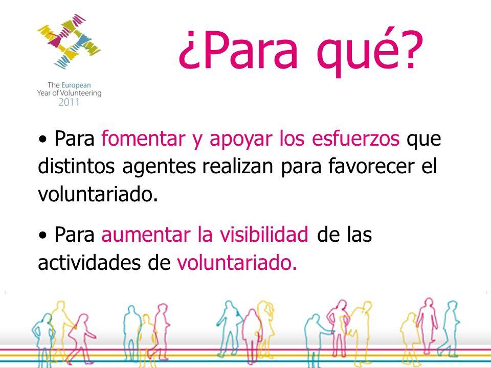La celebración conjunta de algunas acciones o actividades sencillas en Alava durante el año 2011, que respondan a las necesidades de las organizaciones de voluntariado y de las personas voluntarias.