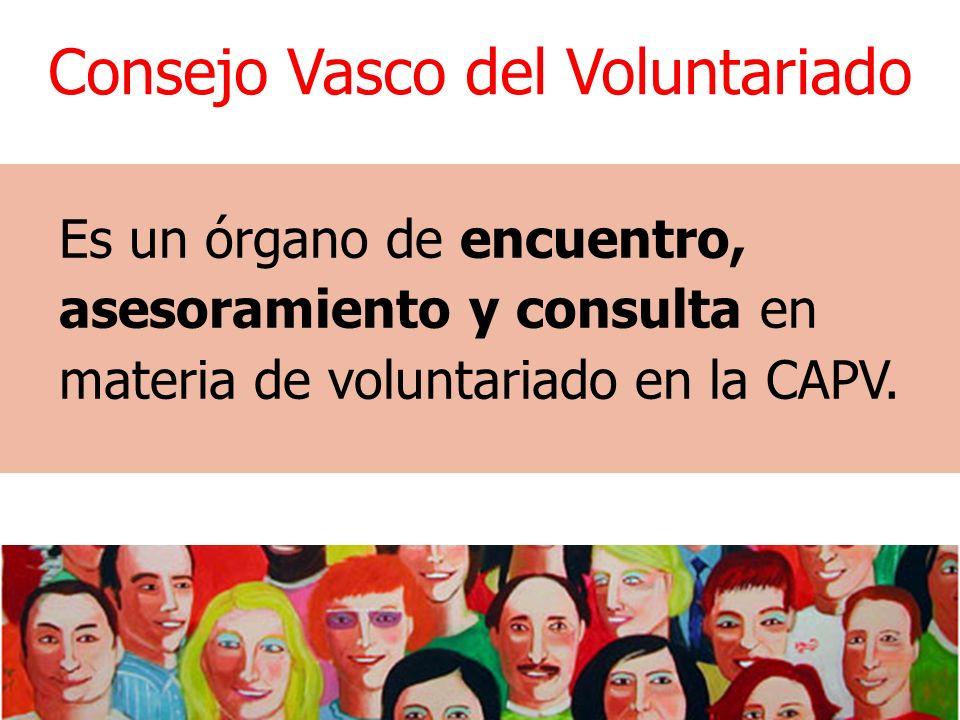 Es un órgano de encuentro, asesoramiento y consulta en materia de voluntariado en la CAPV.