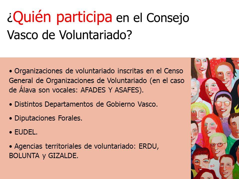 ¿ Quién participa en el Consejo Vasco de Voluntariado.