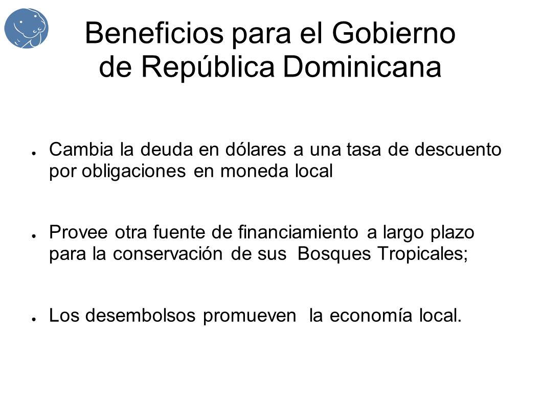 Beneficios para el Gobierno de República Dominicana Cambia la deuda en dólares a una tasa de descuento por obligaciones en moneda local Provee otra fuente de financiamiento a largo plazo para la conservación de sus Bosques Tropicales; Los desembolsos promueven la economía local.