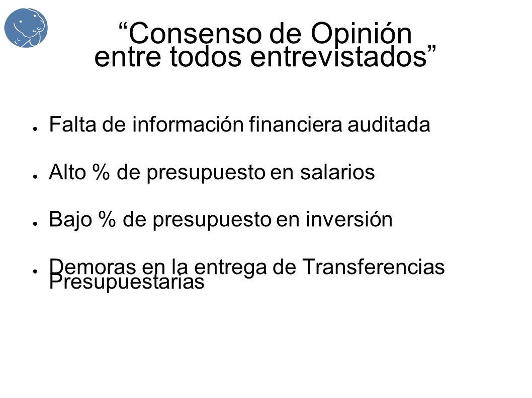 Consenso de Opinión entre todos entrevistados Falta de información financiera auditada Alto % de presupuesto en salarios Bajo % de presupuesto en inversión Demoras en la entrega de Transferencias Presupuestarias