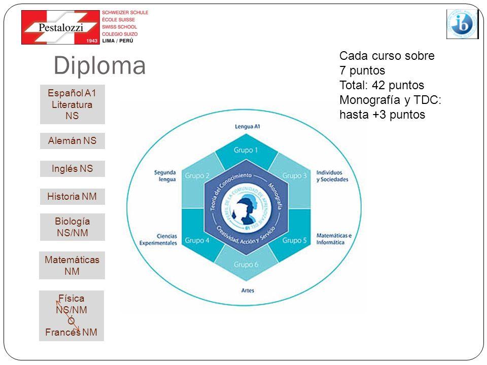 Diploma Cada curso sobre 7 puntos Total: 42 puntos Monografía y TDC: hasta +3 puntos Historia NM Matemáticas NM Biología NS/NM Alemán NS Inglés NS Esp
