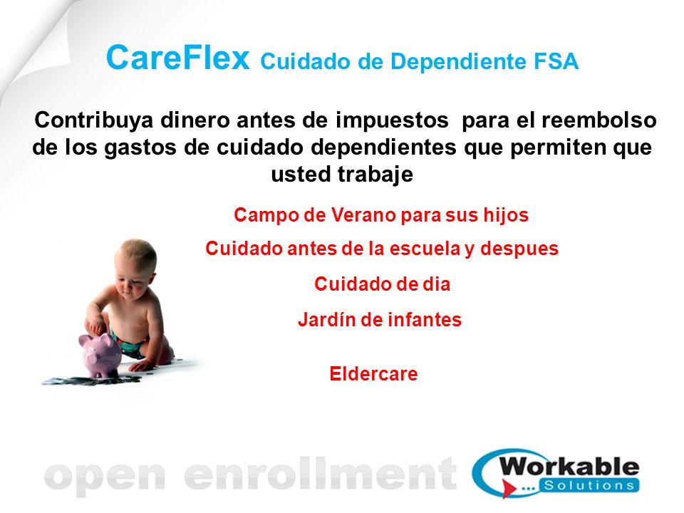 CareFlex Cuidado de Dependiente FSA Contribuya dinero antes de impuestos para el reembolso de los gastos de cuidado dependientes que permiten que usted trabaje Campo de Verano para sus hijos Cuidado antes de la escuela y despues Cuidado de dia Jardín de infantes Eldercare