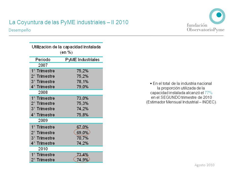 La Coyuntura de las PyME industriales – II 2010 Agosto 2010 Desempeño En el total de la industria nacional la proporción utilizada de la capacidad instalada alcanzó el 77% en el SEGUNDO trimestre de 2010 (Estimador Mensual Industrial – INDEC).