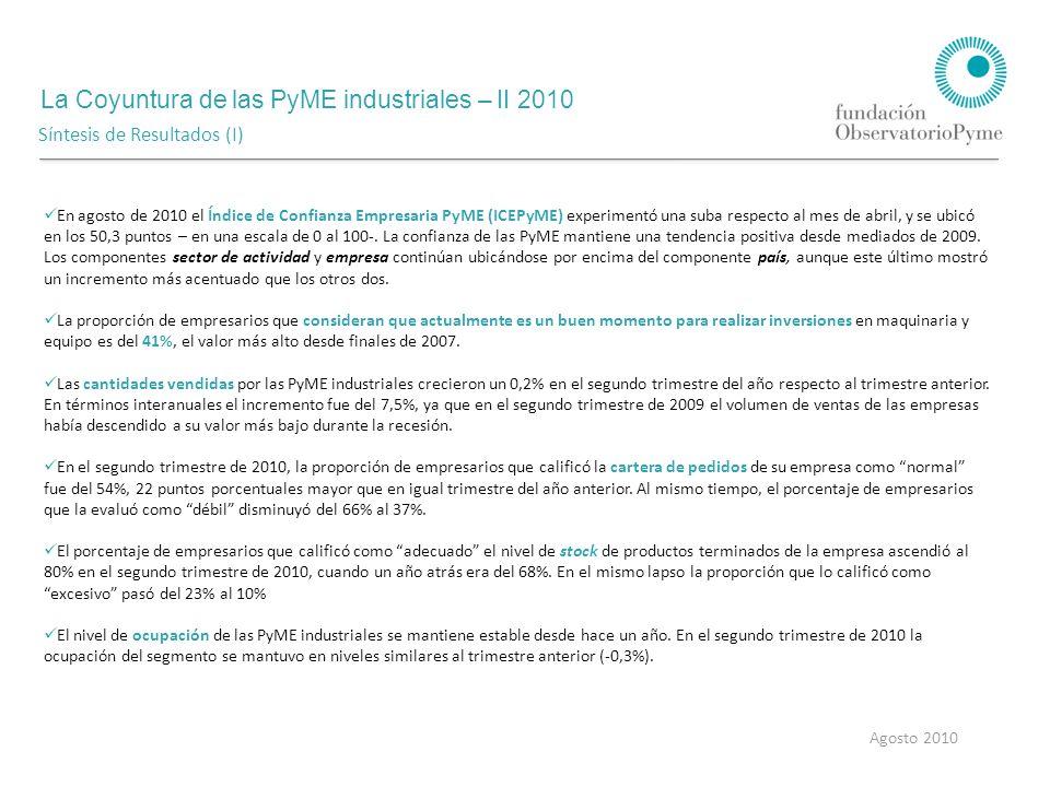 La Coyuntura de las PyME industriales – II 2010 Agosto 2010 Síntesis de Resultados (I) En agosto de 2010 el Índice de Confianza Empresaria PyME (ICEPyME) experimentó una suba respecto al mes de abril, y se ubicó en los 50,3 puntos – en una escala de 0 al 100-.