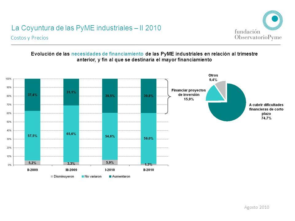 La Coyuntura de las PyME industriales – II 2010 Agosto 2010 Costos y Precios Evolución de las necesidades de financiamiento de las PyME industriales en relación al trimestre anterior, y fin al que se destinaría el mayor financiamiento