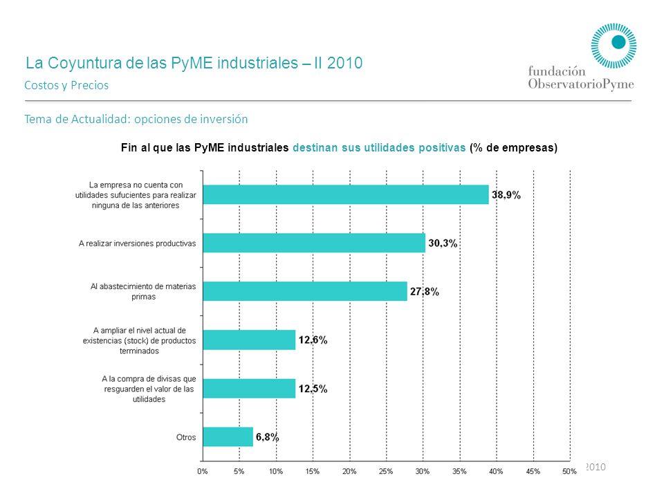 La Coyuntura de las PyME industriales – II 2010 Agosto 2010 Costos y Precios Tema de Actualidad: opciones de inversión Fin al que las PyME industriales destinan sus utilidades positivas (% de empresas)