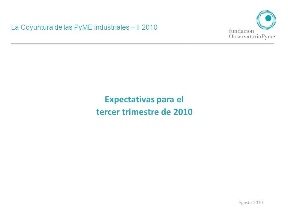 La Coyuntura de las PyME industriales – II 2010 Agosto 2010 Expectativas para el tercer trimestre de 2010