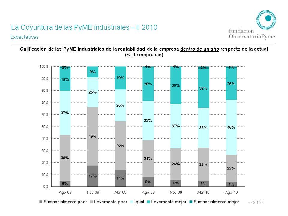La Coyuntura de las PyME industriales – II 2010 Agosto 2010 Expectativas Calificación de las PyME industriales de la rentabilidad de la empresa dentro de un año respecto de la actual (% de empresas)