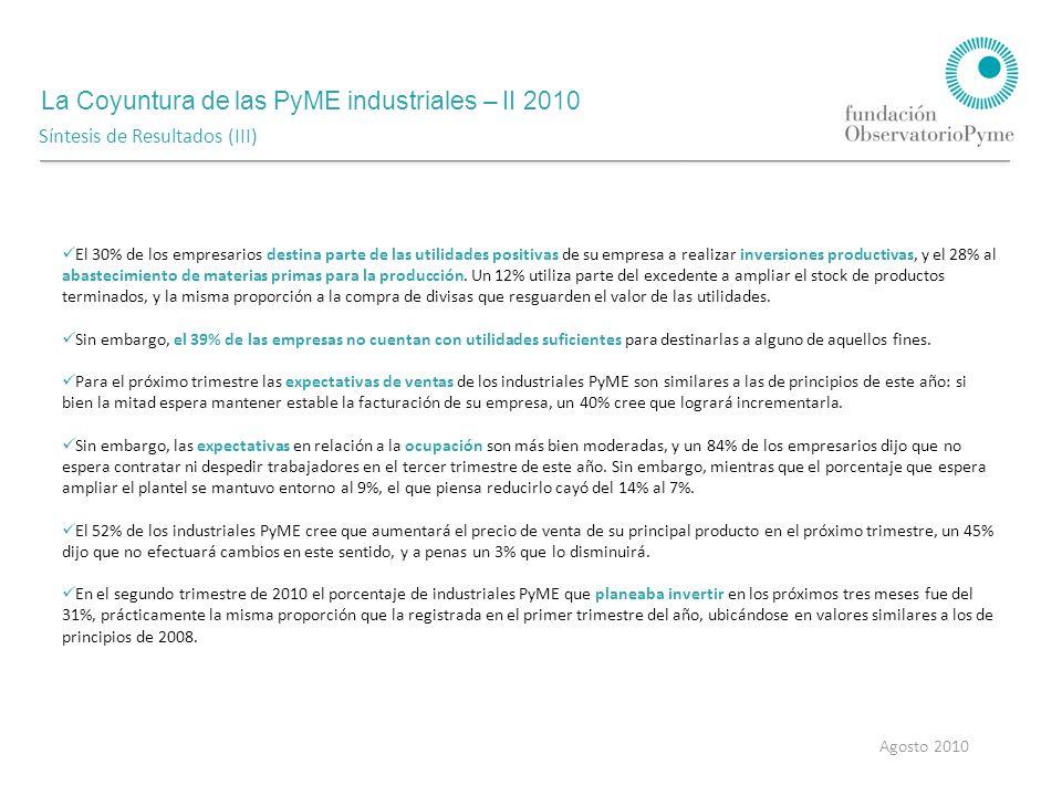 La Coyuntura de las PyME industriales – II 2010 Agosto 2010 Costos y Precios Evolución de la tasa de variación anual del precio de venta del principal producto de las PyME industriales Durante el segundo trimestre de 2010 el 65% de los industriales PyME dijo haber incrementado el precio de venta de su principal producto.
