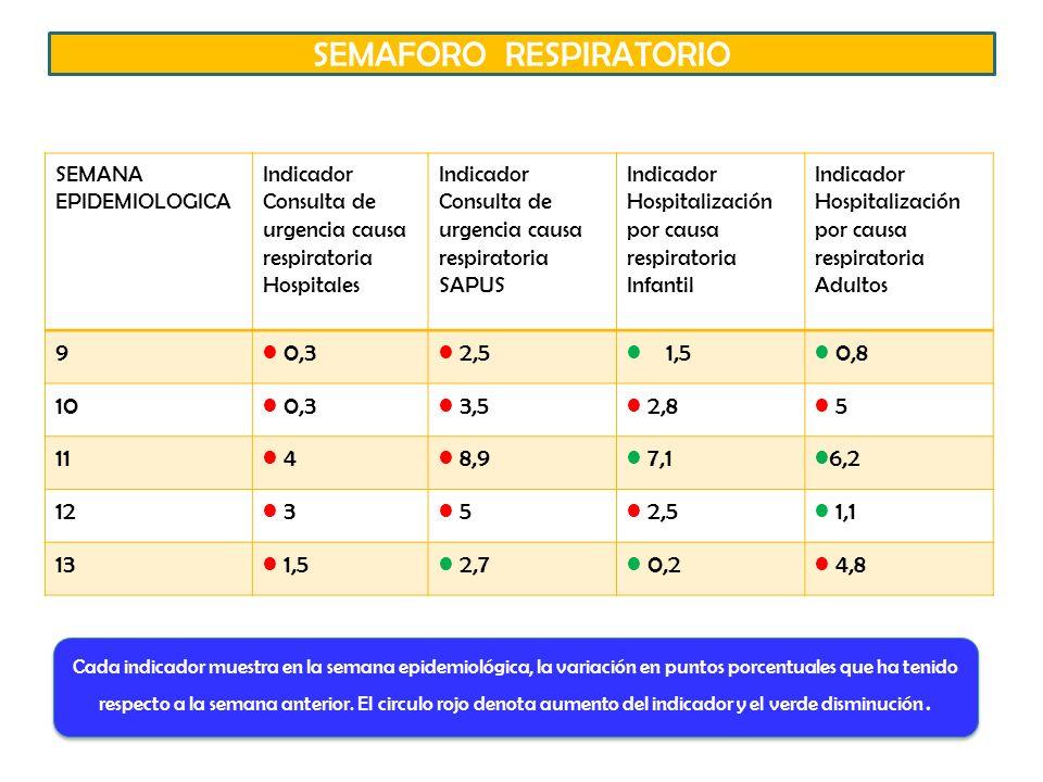 SEMANA EPIDEMIOLOGICA Indicador Consulta de urgencia causa respiratoria Hospitales Indicador Consulta de urgencia causa respiratoria SAPUS Indicador Hospitalización por causa respiratoria Infantil Indicador Hospitalización por causa respiratoria Adultos 9 0,3 2,5 1,5 0,8 10 0,3 3,5 2,8 5 11 4 8,9 7,1 6,2 12 3 5 2,5 1,1 13 1,5 2,7 0,2 4,8 Cada indicador muestra en la semana epidemiológica, la variación en puntos porcentuales que ha tenido respecto a la semana anterior.
