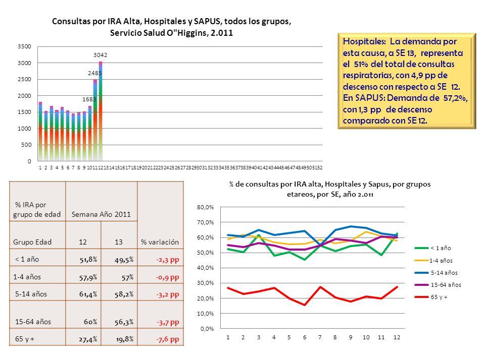 Hospitales: La demanda por esta causa, a SE 13, representa el 51% del total de consultas respiratorias, con 4,9 pp de descenso con respecto a SE 12. E