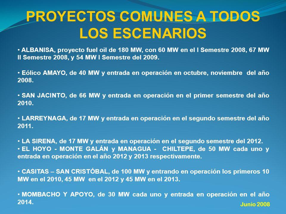 PROYECTOS COMUNES A TODOS LOS ESCENARIOS ALBANISA, proyecto fuel oil de 180 MW, con 60 MW en el I Semestre 2008, 67 MW II Semestre 2008, y 54 MW I Semestre del 2009.