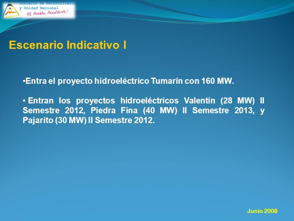 Escenario Indicativo I Entra el proyecto hidroeléctrico Tumarín con 160 MW.