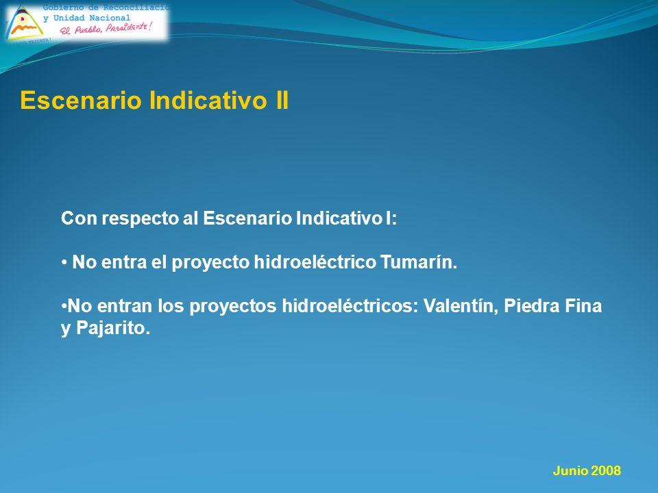 Con respecto al Escenario Indicativo I: No entra el proyecto hidroeléctrico Tumarín.