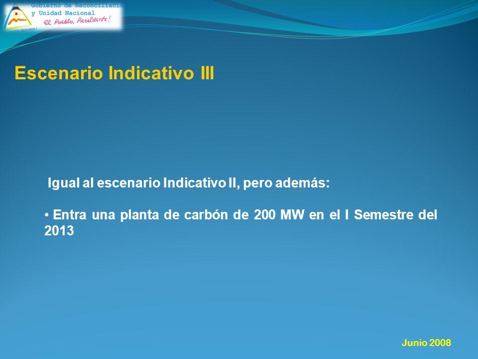 Igual al escenario Indicativo II, pero además: Entra una planta de carbón de 200 MW en el I Semestre del 2013 Escenario Indicativo III Junio 2008