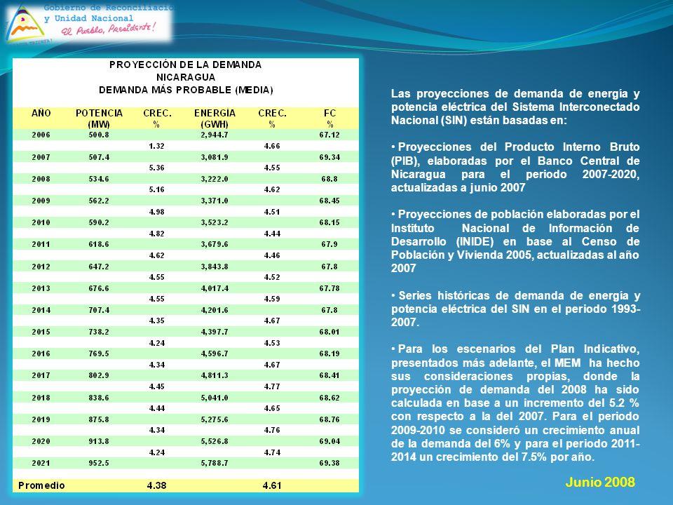 Las proyecciones de demanda de energía y potencia eléctrica del Sistema Interconectado Nacional (SIN) están basadas en: Proyecciones del Producto Interno Bruto (PIB), elaboradas por el Banco Central de Nicaragua para el periodo 2007-2020, actualizadas a junio 2007 Proyecciones de población elaboradas por el Instituto Nacional de Información de Desarrollo (INIDE) en base al Censo de Población y Vivienda 2005, actualizadas al año 2007 Series históricas de demanda de energía y potencia eléctrica del SIN en el periodo 1993- 2007.