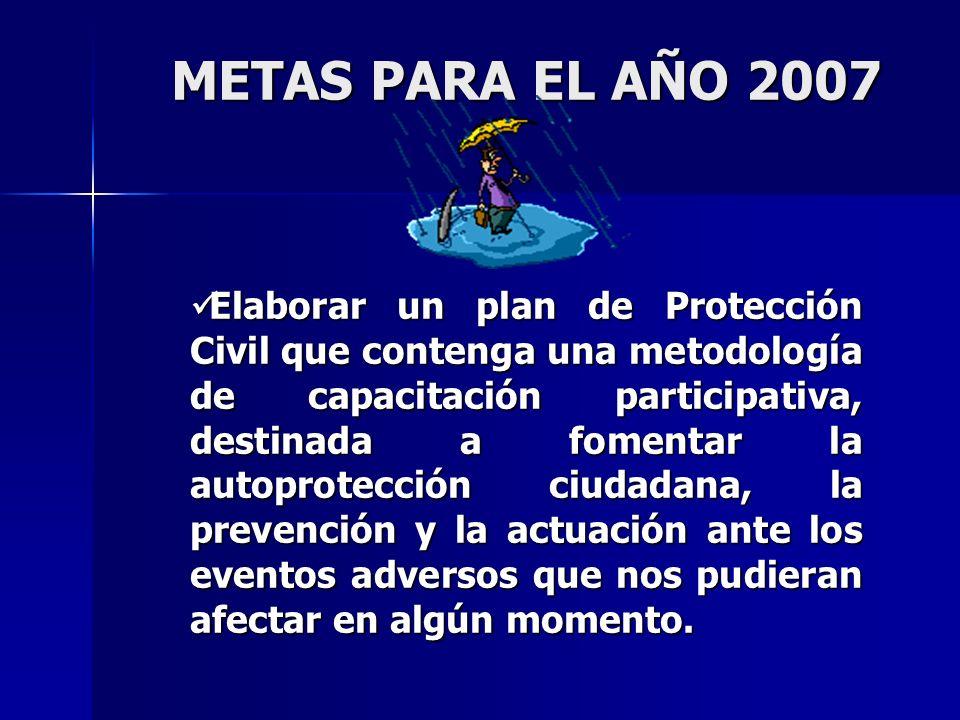 Elaborar un plan de Protección Civil que contenga una metodología de capacitación participativa, destinada a fomentar la autoprotección ciudadana, la prevención y la actuación ante los eventos adversos que nos pudieran afectar en algún momento.