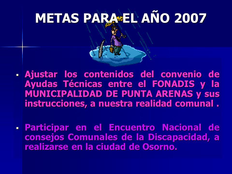METAS PARA EL AÑO 2007 Ajustar los contenidos del convenio de Ayudas Técnicas entre el FONADIS y la MUNICIPALIDAD DE PUNTA ARENAS y sus instrucciones, a nuestra realidad comunal.