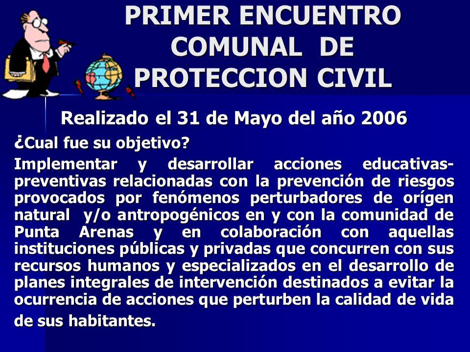 PRIMER ENCUENTRO COMUNAL DE PROTECCION CIVIL Realizado el 31 de Mayo del año 2006 ¿ Cual fue su objetivo.