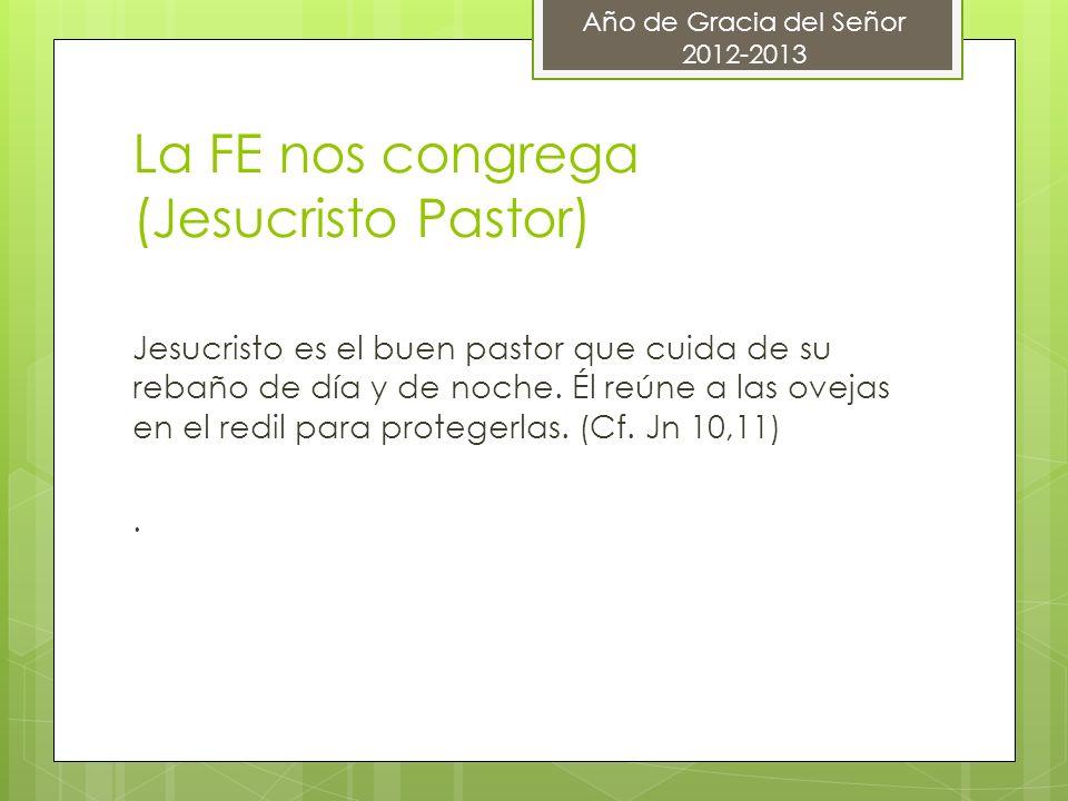 La FE nos congrega (Jesucristo Pastor) Jesucristo es el buen pastor que cuida de su rebaño de día y de noche. Él reúne a las ovejas en el redil para p