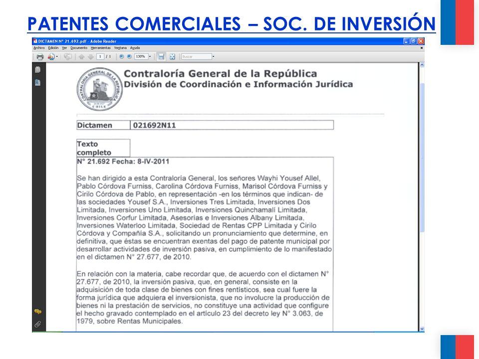 PATENTES COMERCIALES – SOC. DE INVERSIÓN