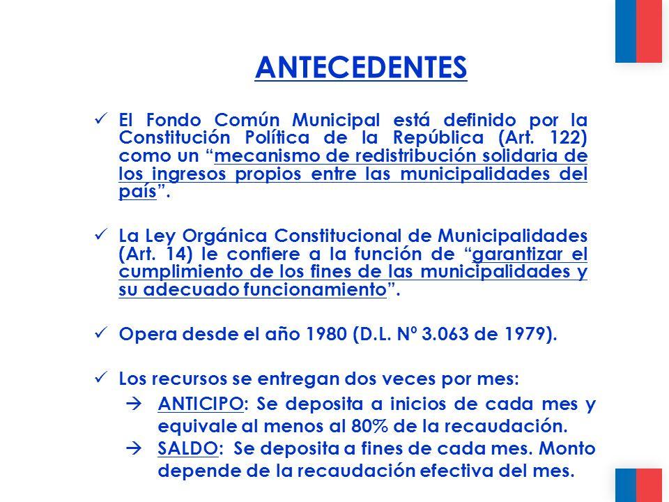 El Fondo Común Municipal está definido por la Constitución Política de la República (Art.
