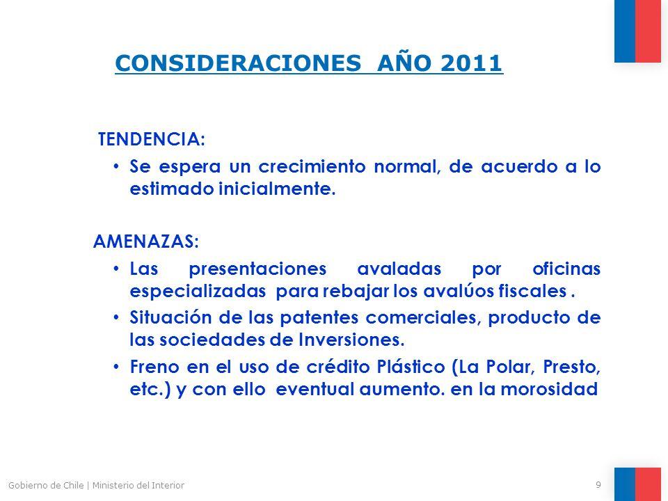 CONSIDERACIONES AÑO 2011 9 Gobierno de Chile | Ministerio del Interior TENDENCIA: Se espera un crecimiento normal, de acuerdo a lo estimado inicialmente.