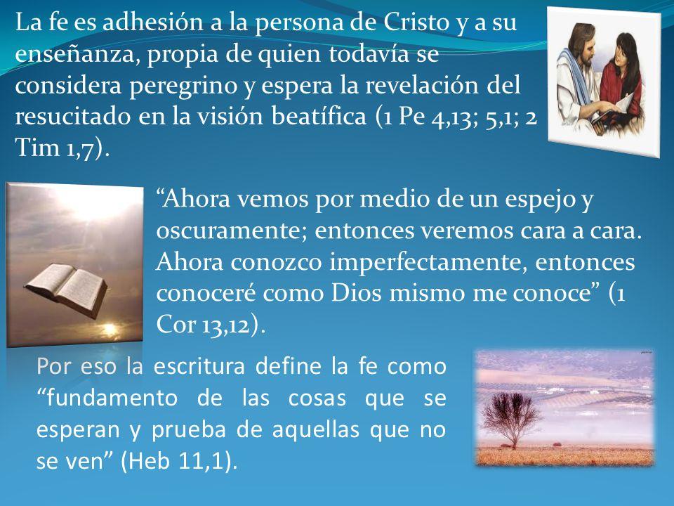 Por eso la escritura define la fe como fundamento de las cosas que se esperan y prueba de aquellas que no se ven (Heb 11,1).