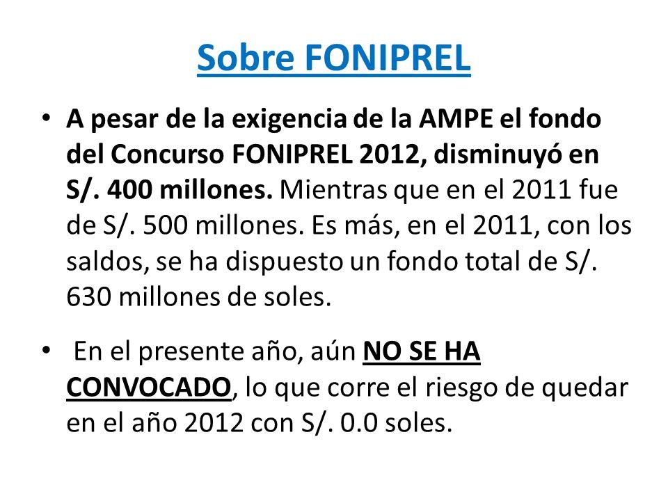 A pesar de la exigencia de la AMPE el fondo del Concurso FONIPREL 2012, disminuyó en S/. 400 millones. Mientras que en el 2011 fue de S/. 500 millones