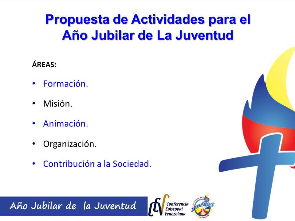Propuesta de Actividades para el Año Jubilar de La Juventud ÁREAS: Formación. Misión. Animación. Organización. Contribución a la Sociedad.
