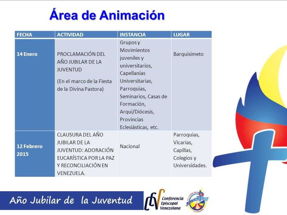 Área de Animación FECHAACTIVIDADINSTANCIALUGAR 14 Enero PROCLAMACIÓN DEL AÑO JUBILAR DE LA JUVENTUD (En el marco de la Fiesta de la Divina Pastora) Gr