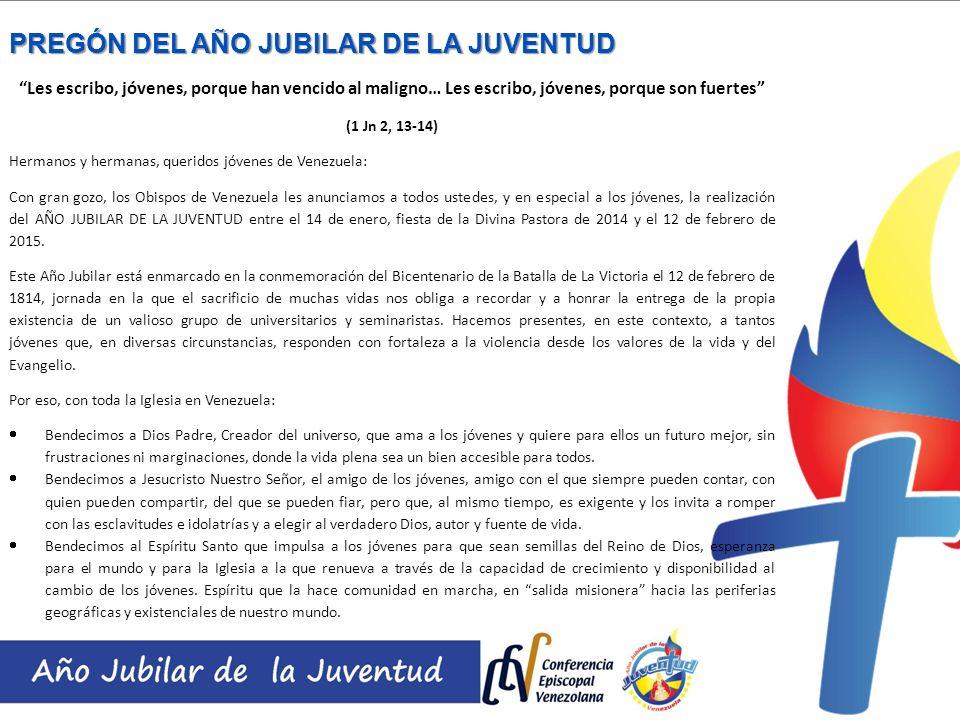 Nos alegramos con todos los jóvenes de Venezuela por este Año Jubilar, tiempo de gracia y de bendición.